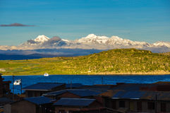 Cordillera Real viewed from Isla del Sol, Bolivia Stock Image