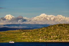 Cordillera Real viewed from Isla del Sol, Bolivia Royalty Free Stock Images