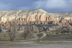 Cordillera rosada cerca del göreme Cappadocia Fotografía de archivo libre de regalías