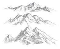 Cordilleras del dibujo de la mano en estilo del grabado Paisaje de la naturaleza del vector del panorama de las montañas del vint ilustración del vector