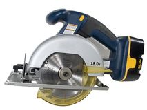 Cordless Circular Saw. Isolated shot of a Battery powered circular saw Shot with a Fuji FinePix S5100 At native resolution of 2272X1704 and has not been royalty free stock photos