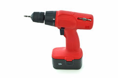 Cordless drill. Red cordless drill isolated on white background with room for copy Royalty Free Stock Image