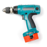 Cordless drill. Battery-powered electric drill on white background Royalty Free Stock Photography