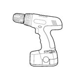 Cordless Drill. Vector blsck outline cordless drill on white Stock Photo