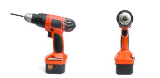 Cordless drill. On the white background royalty free stock photos