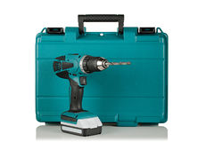 Cordless drill. On the background of the case Stock Photos