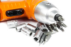 Cordless Drill with different tips Stock Images