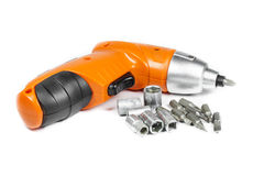 Cordless Drill with different tips Royalty Free Stock Photo