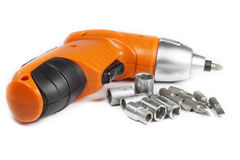 Cordless Drill with different tips Royalty Free Stock Images