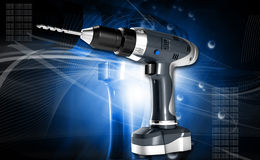 Cordless drill. Digital illustration of cordless drill in colour background stock photography