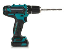 Cordless drill and drill bit. Cordless drill and a drill on a white background Royalty Free Stock Images