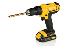 Cordless drill with a drill. On a white background Stock Images