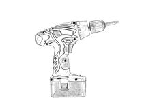 Cordless Drill. Imitation of pencil drawing. royalty free stock photography
