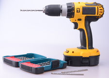 Cordless Drill with masonry bits Stock Photos