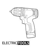 Cordless drill. Outline Cordless drill on white background Stock Image