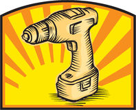 Cordless Drill Power Tool Woodcut Retro Royalty Free Stock Image