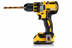 Cordless drill, screwdriver with drill. Bit on white background Royalty Free Stock Photo
