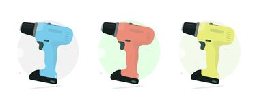 Cordless drill. Set color. Power tool. Royalty Free Stock Photo