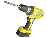 Cordless drill. Yellow cordless drill isolated on a white background. 3D render Royalty Free Stock Photo