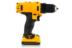 Cordless driver drill. On a white background Royalty Free Stock Images