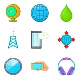 Cordless equipment icons set, cartoon style. Cordless equipment icons set. Cartoon set of 9 cordless equipment vector icons for web isolated on white background Royalty Free Stock Photography