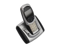 Cordless home phone,  on a white background. A modern, cordless home phone,  on a white background Stock Photos