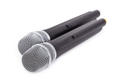 Cordless microphones. Closeup on white background Royalty Free Stock Photography