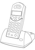 Cordless Phone. Contour outline illustration Royalty Free Stock Photography