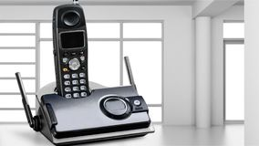 Cordless phone. Telephone voip dect gray wireless technology dect phone stock image