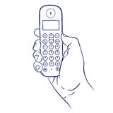 Cordless phone in hand. Doodle hand drawn sketch cordless phone in hand Stock Photos
