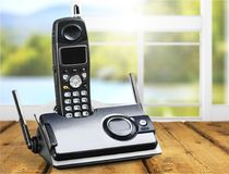 Cordless phone. Telephone voip dect gray wireless technology dect phone royalty free stock images