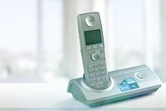 Cordless phone. Telephone voip dect gray wireless technology dect phone stock photo
