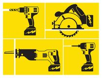 Cordless power tools in action on yellow background. Four cordless battery powered tools black and white linear icons in action on yellow background vector illustration