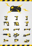 Cordless power tools with battery on white background Stock Photos