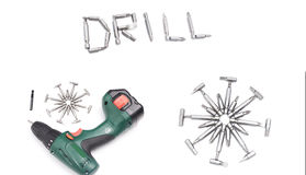 Cordless screwdriver or drill isolated on a white background,Ele Royalty Free Stock Images