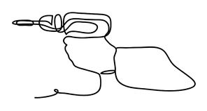 Cordless screwdriver holding by hand. Continuous line drawing. Isolated on the white background. Vector monochrome. Cordless screwdriver holding by hand Royalty Free Stock Photo