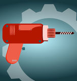 Cordless screwdriver. With metal auger stock illustration