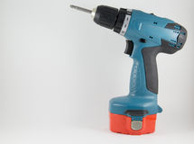 Cordless screwdriver with a Phillips on a white background Royalty Free Stock Photos