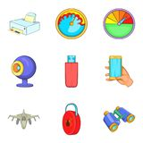 Cordless technology icons set, cartoon style. Cordless technology icons set. Cartoon set of 9 cordless technology vector icons for web isolated on white Royalty Free Stock Photo