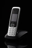 Cordless telefon na czarnym tle Fotografia Royalty Free