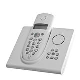Cordless telephone. White cordless telephone with answering machine over white background stock photography