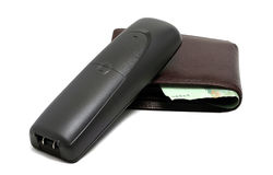 Cordless telephone and wallet Stock Images