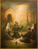 Cordoba - Св. Франциск Св. Франциск Assisi и St Клары на молитве перед Porziuncola в церков Convento de Capuchinos стоковое изображение rf