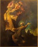 Cordoba - современная краска общественного осуждения Св.а Франциск Св. Франциск Assisi 20 цент в церков Convento de Capuchinos стоковые фотографии rf
