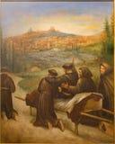 Cordoba - сцена Св. Франциск Св. Франциск benedicite Assisi перед смертью городок Assisi в церков Convento de Capuchinos стоковое фото rf