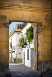 Cordoba: alte typische Straße im Juderia mit Anlagen und Blumen Andalusien, Spanien lizenzfreie stockfotografie