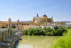 Cordoba. Andalusia. view with mosque and bridge Royalty Free Stock Photography