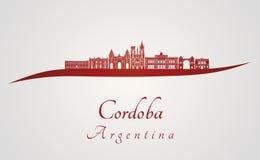 Cordoba AR skyline in red Royalty Free Stock Image