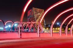 Puente del Bicentenario at night with Centro Cívico del Bicentenario on background - Cordoba, Argentina. Cordoba, Argentina - May 7, 2018: Puente del royalty free stock photography