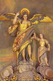 Cordoba - The carved polychrome statue of archangel Raphael (Santo Angel) patron of the Town on the altar in church Convento Stock Photography